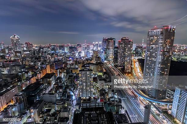 Tokyo City bird's‐eye view at night