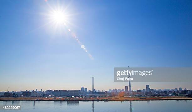 Tokyo city with Tokyo sky tree at sunny day.