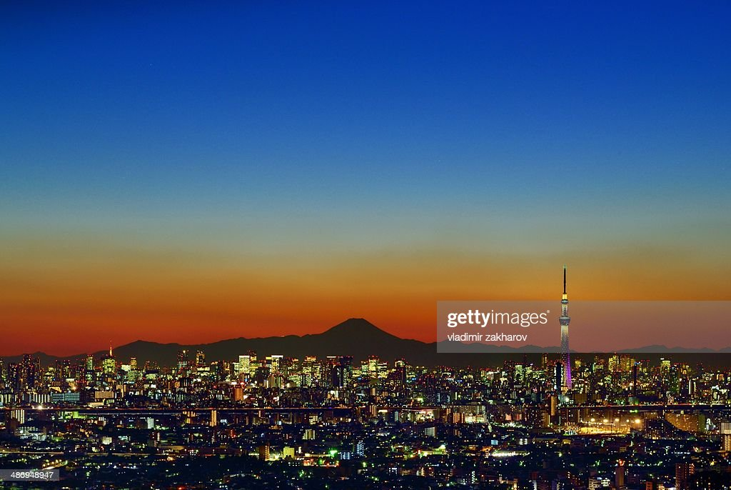 Tokyo cityscape and Mount Fuji at sunset