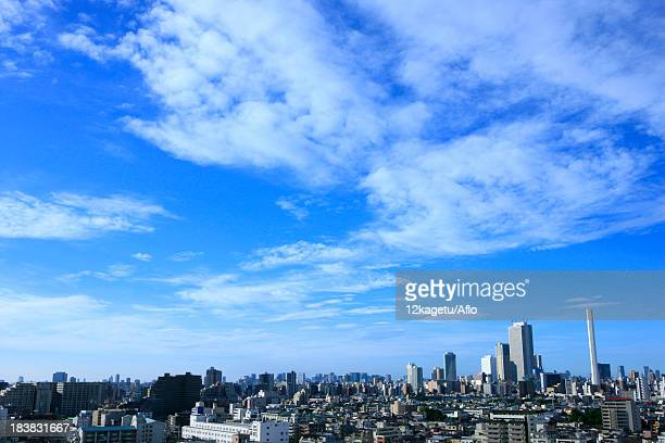 Tokyo cityscape and sky with clouds