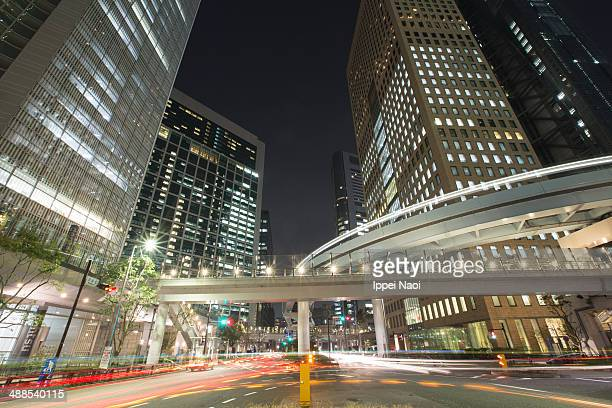 Tokyo cityscape at night with monorail