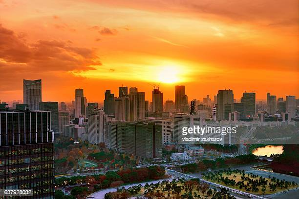 Tokyo cityscape view at sunset