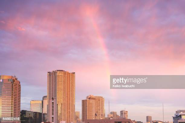 Tokyo cityscape with rainbow