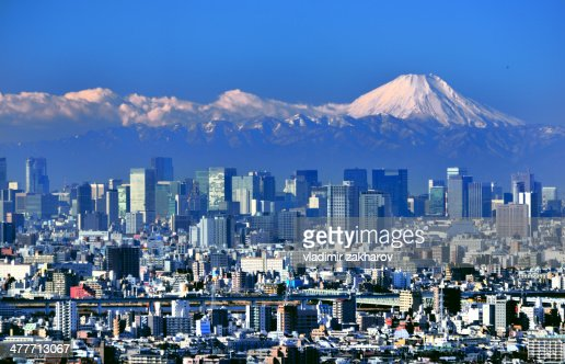 Tokyo downtown  and Mount Fuji at clear day