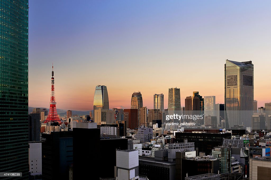 Tokyo Downtown at sunrise : Stock Photo