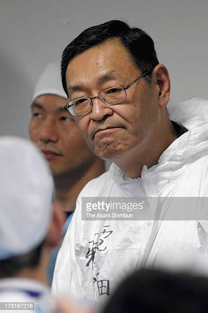 Tokyo Electric Power Co Fukushima Daiichi Nuclear Power Plant chief Masao Yoshida speaks to staffs on November 12 2011 in Okuma Fukushima Japan...