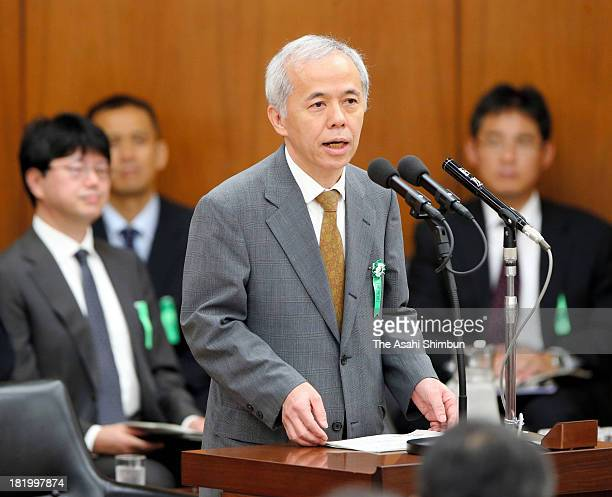 Tokyo Electric Power Co President naomi Hirose speaks during a lower house economy and trade committee on radiation contaminated water leakage at the...