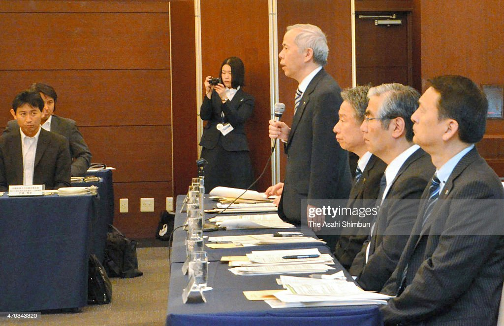 Tokyo Electric Power Co President <a gi-track='captionPersonalityLinkClicked' href=/galleries/search?phrase=Naomi+Hirose&family=editorial&specificpeople=9192758 ng-click='$event.stopPropagation()'>Naomi Hirose</a> speaks during a meeting with Fukushima business owners on June 7, 2015 in Fukushima, Japan. About 8,000 business operators that have left areas around the crippleplant have received such payments over the four years until fiscal 2014. The government and TEPCO will pay compensation for an additional two years until fiscal 2016, and then end the lump-sum reparation payments.