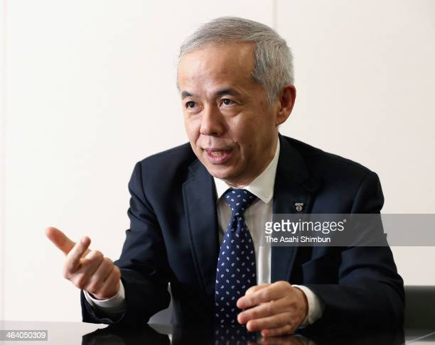Tokyo Electric Power Co President Naomi Hirose speaks during an interview at the headquarters of TEPCO on January 18 2014 in Tokyo Japan In the...
