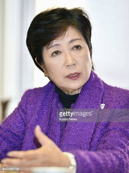 Tokyo Gov Yuriko Koike speaks in an interview with Kyodo News in Tokyo on Feb 16 2017 Koike suggested she will wait until after the July 2...