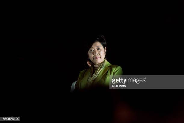 Tokyo Governor and Kibo no To leader Yuriko Koike gives a speech during his political rally in Yokohama Japan 12 October 2017 The general election...