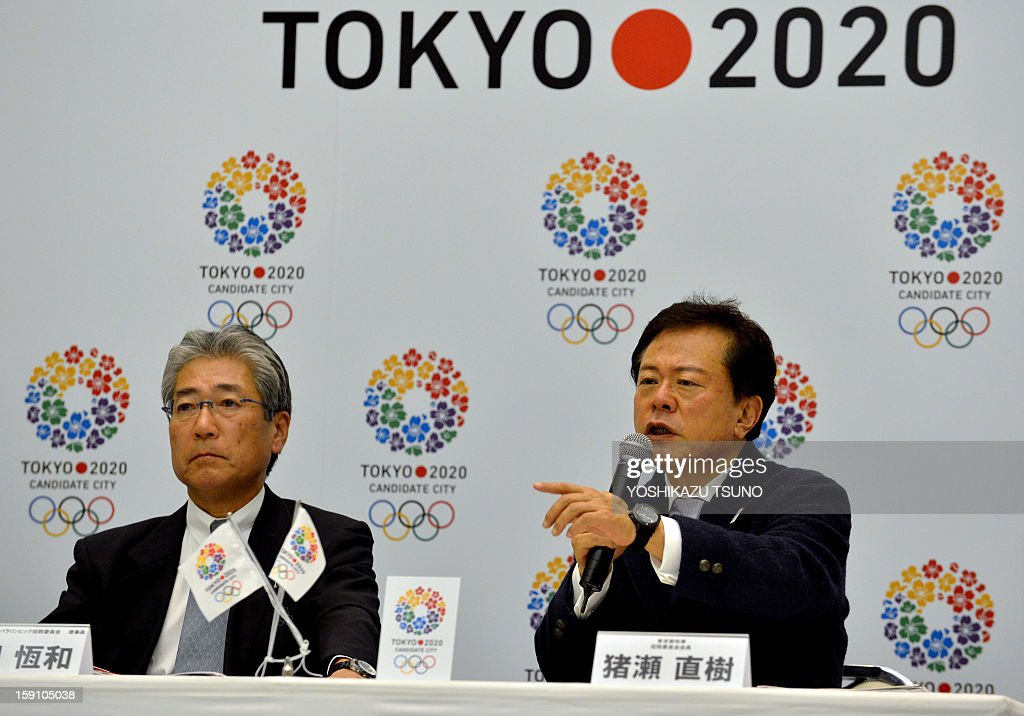 Tokyo Governor Naoki Inose (R) answers a question while Japan Olympic Committee (JOC) President Tsunakazu Takeda (L) looks on at a press conference at the Tokyo City Hall on January 8, 2013. The Tokyo 2020 committe, a candidate for the 2020 summer Olympic Games, filed the candidature files to the International Olympic Committee (IOC) on January 7 in Lausanne. AFP PHOTO / Yoshikazu TSUNO