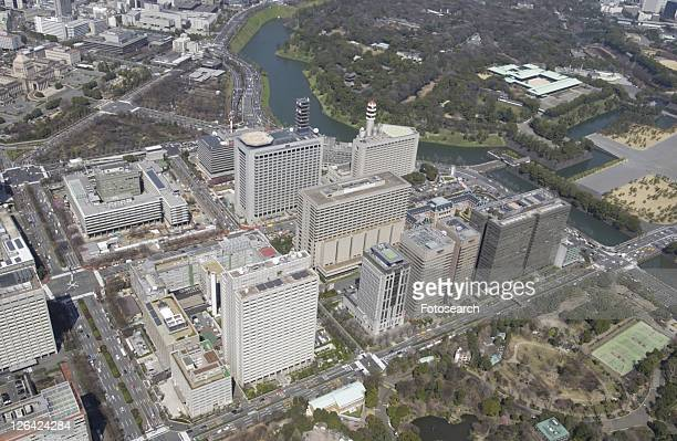Tokyo High Court Area, Aerial View, Pan Focus