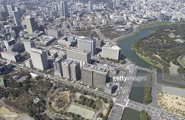 Tokyo High Court Area, Aerial View, Pan Focus