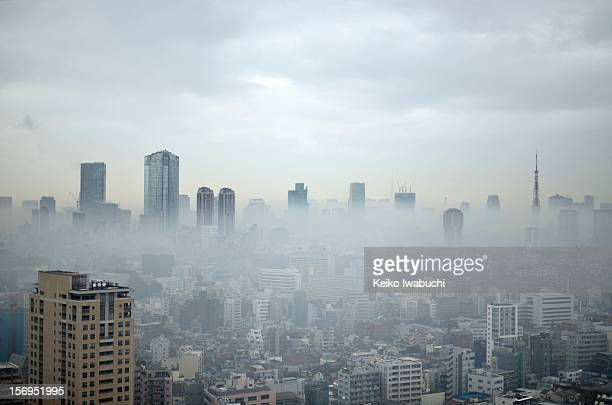Tokyo in a dense fog