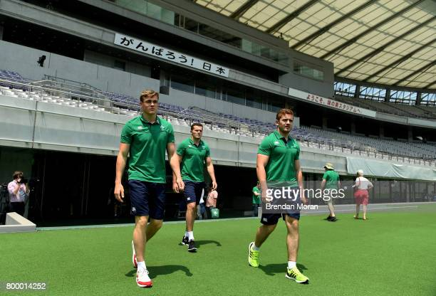 Tokyo Japan 23 June 2017 Ireland players from left Garry Ringrose Jacob Stockdale and Paddy Jackson walk out for their team photpgraph before their...