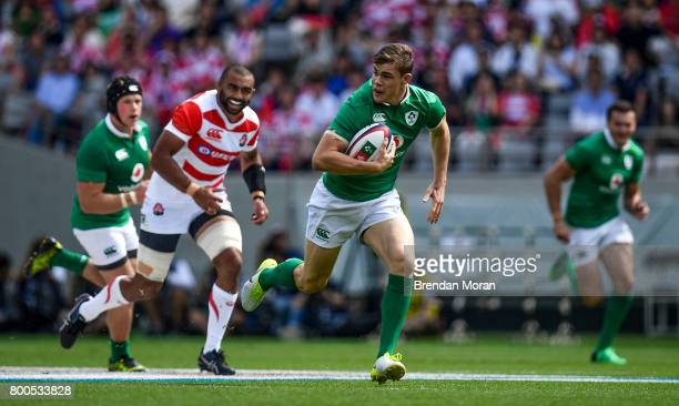 Tokyo Japan 24 June 2017 Garry Ringrose of Ireland runs through on the way to scoring his side's first try during the international rugby match...