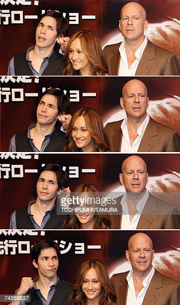 Combo picture shows Hollywood star Bruce Willis joking with Justin Long by pulling his ear while posing with Maggie Q in a photo session of his...