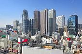 Tokyo, Japan in the financial district skyline of Nishi-Shinjuku.