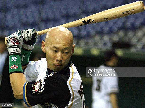 Japanese baseball team Nippon Ham Fighters outfielder Hichori Morimoto takes part in batting practice during their official training session of the...