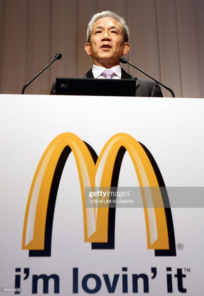 McDonald's Japan Chairman, president and CEO <a gi-track='captionPersonalityLinkClicked' href=/galleries/search?phrase=Eiko+Harada&family=editorial&specificpeople=679564 ng-click='$event.stopPropagation()'>Eiko Harada</a> speaks during a press conference announcing the company's business plan at a hotel in Tokyo, 19 April 2006.