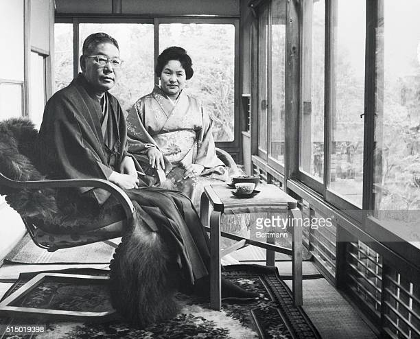 Portrait Of Composure Sitting in the quiet composure of their home Prime Minister Hayato Ikeda of Japan and his wife Mitsue escape from the problems...