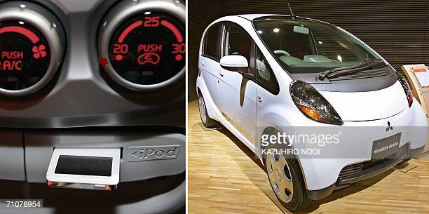 This combo picture shows the Mitsubishi Motor's stylish mini car 'i' loaded with an exclusive slot for the portable music player 'i Pod nano' at a...