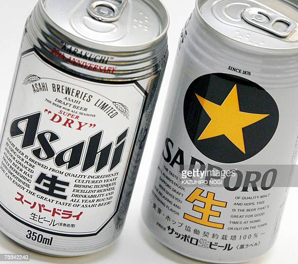 This picture shows Japanese canned beers produced by Asahi Breweries and its rival Sapporo Holdings 16 February 2007 in Tokyo Japan's largest brewer...