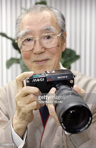 'Treasury of Sony' Nobutoshi Kihara displays a prototype model of Sony's digital camera Mavica which enables to interchange lenses produced in 1981...