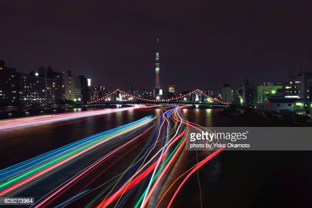 Tokyo light trail of ship