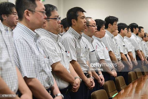 Tokyo Metro Co employees attend the morning meeting inside the Tokyo Metro Integrated Control Center in Tokyo Japan on Tuesday May 19 2015 Every day...