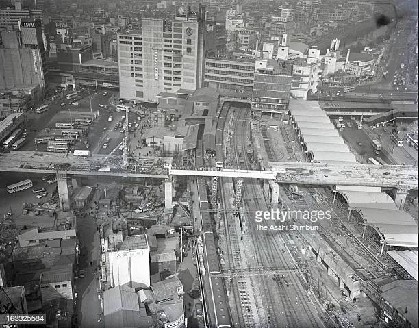 Tokyo Metropolitan Expressway Route 3 is under construction near Shibuya Station on January 12 1964 in Tokyo Japan A large scale redevelopment around...