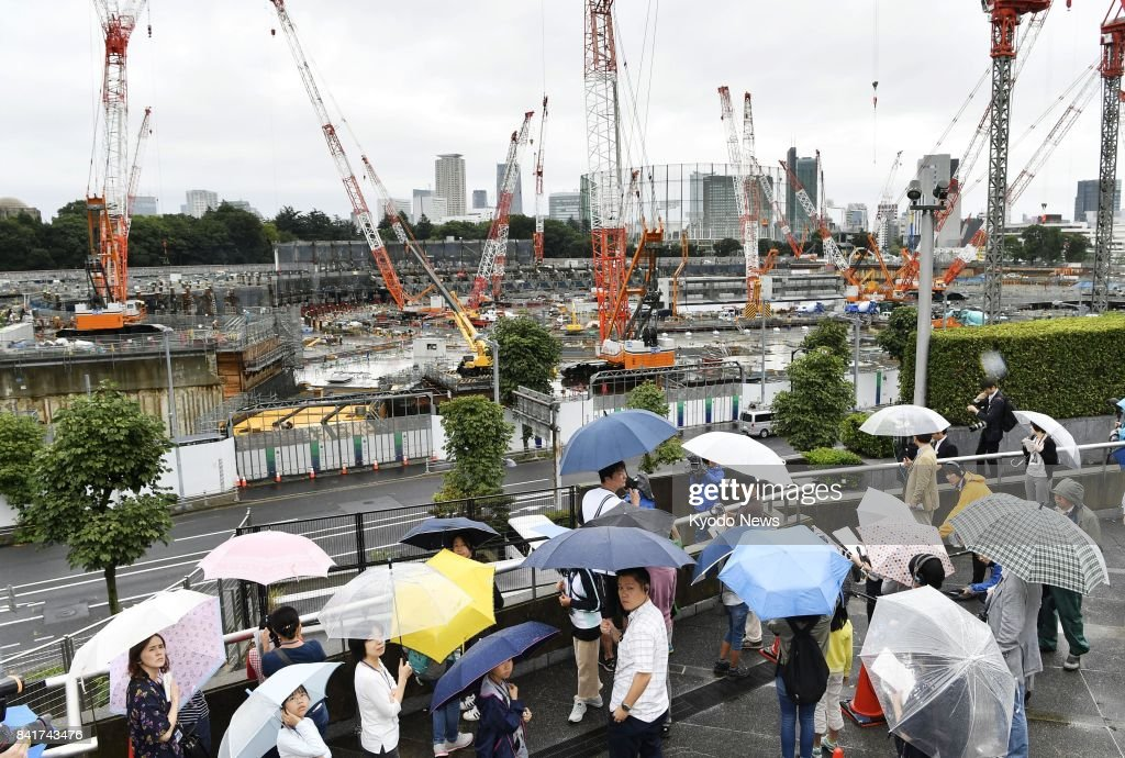 Tokyo metropolitan government invites elementary school students and their parents to the construction site of the main stadium of the 2020 Tokyo Olympics and Paralympics on Sept. 2, 2017, with the aim to raise public interest in the event. ==Kyodo