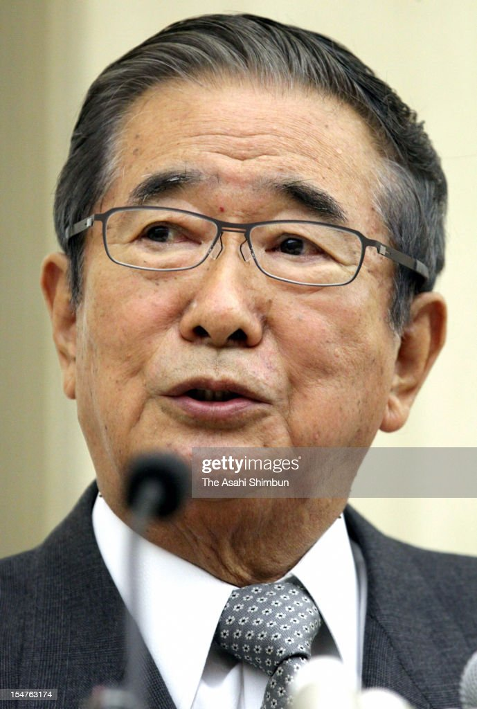 Tokyo Metropolitan Governor <a gi-track='captionPersonalityLinkClicked' href=/galleries/search?phrase=Shintaro+Ishihara&family=editorial&specificpeople=665335 ng-click='$event.stopPropagation()'>Shintaro Ishihara</a> speaks during a press conference on October 25, 2012 in Tokyo, Japan. Ishihara announced to resign the post and form a new party.