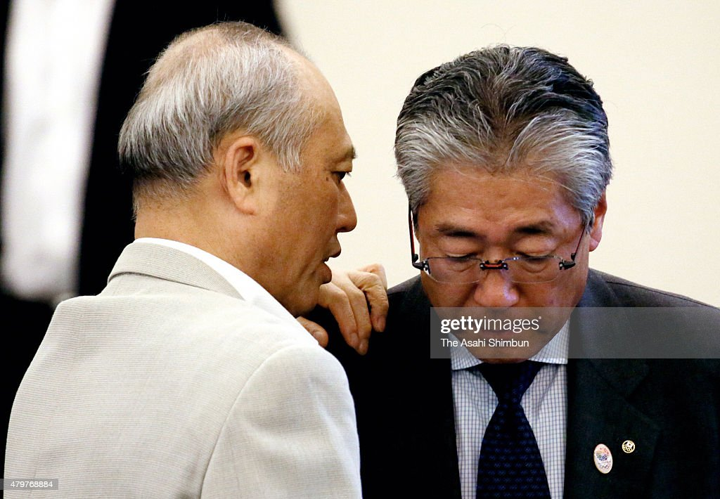Tokyo Metropolitan Governor <a gi-track='captionPersonalityLinkClicked' href=/galleries/search?phrase=Yoichi+Masuzoe&family=editorial&specificpeople=4473580 ng-click='$event.stopPropagation()'>Yoichi Masuzoe</a> (L) talks with Japan Olympic Committee President <a gi-track='captionPersonalityLinkClicked' href=/galleries/search?phrase=Tsunekazu+Takeda&family=editorial&specificpeople=2574573 ng-click='$event.stopPropagation()'>Tsunekazu Takeda</a> (R) ahead of the New National Stadium Construction Experts Meeting on July 7, 2015 in Tokyo, Japan. The total construction cost has been raised from 162.5 billion Japanese yen to 250 billion yen, due to the higher labour and material costs.