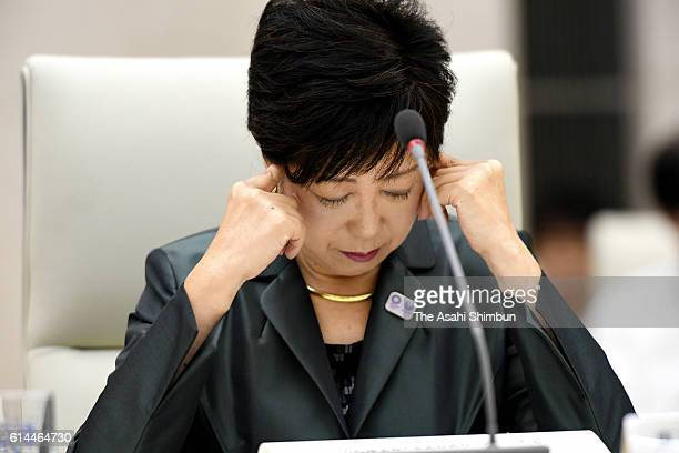 Tokyo Metropolitan Governor Yuriko Koike attends the Olympic Plan Reviewing Panel Meeting on September 29 2016 in Tokyo Japan Plans for the 2020...