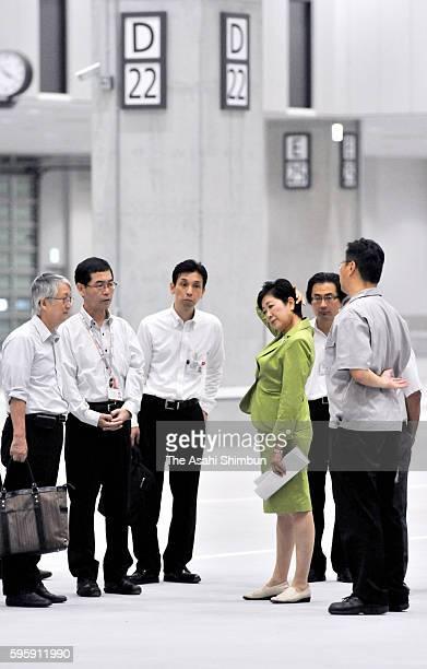 Tokyo Metropolitan Governor Yuriko Koike inspects the new Toyosu Market on August 16 2016 in Tokyo Japan