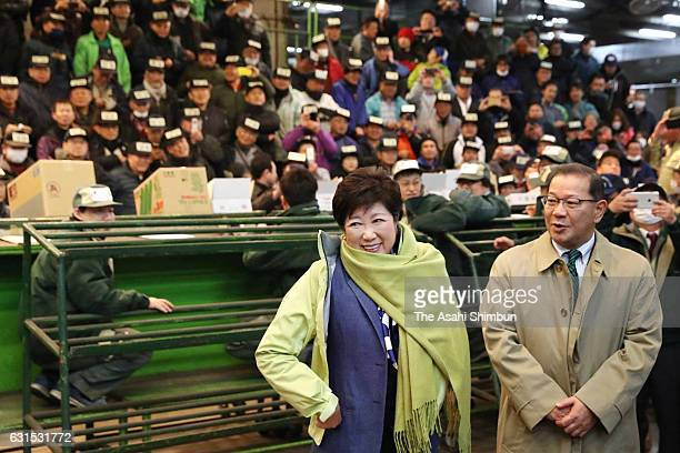 Tokyo Metropolitan Governor Yuriko Koike inspects Tsukiji Market on January 12 2017 in Tokyo Japan Although the Toyosu market was initially scheduled...
