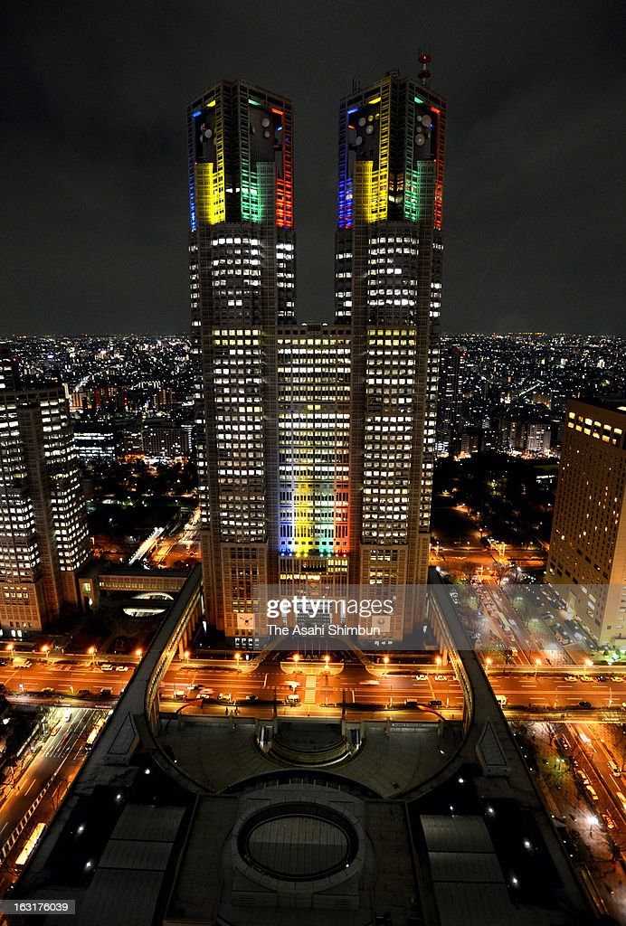 Tokyo Metropolitan headquarters is illuminated in Olympic colors to welcome the Tokyo's 2020 Summer Olympic bid inspection on March 4, 2013 in Tokyo, Japan. The International Olympic Committee (IOC) Evaluation Commission begins the four-day inspection.