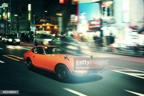 Tokyo nightrace in an oldtimer sportscar