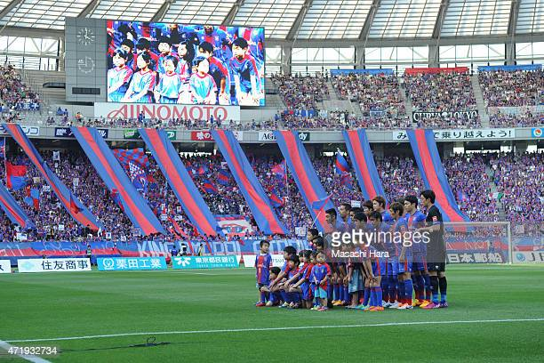 FC Tokyo players pose for photograph prior to the JLeague match between FC Tokyo and Kawasaki Frontale at Ajinomoto Stadium on May 2 2015 in Chofu...