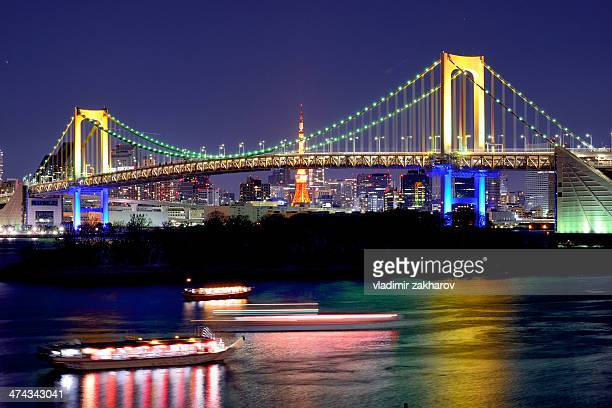 Tokyo, Rainbow Bridge at night