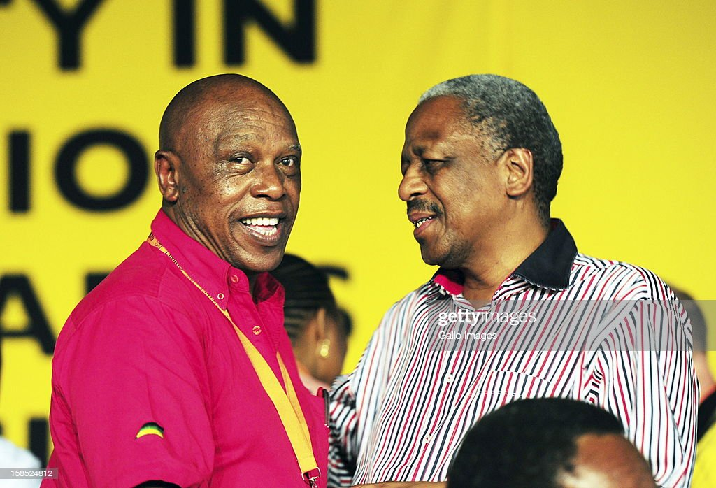 Tokyo Sexwale and Mathew Phosa at the ANC Mangaung elective conference at the University of Free State on December 17, 2012, in Bloemfontein, South Africa.