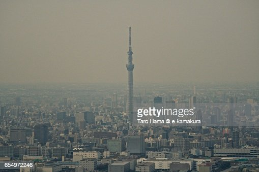 Tokyo Sky Tree aerial view from airplane : ストックフォト
