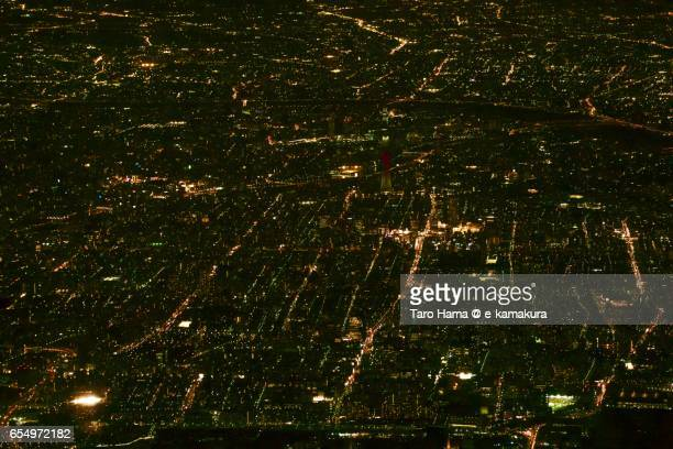 Tokyo Sky Tree and Tokyo city, night time aerial view from airplane