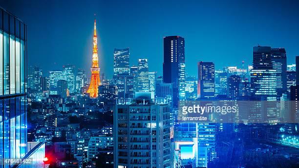 Toits de Tokyo dans la nuit