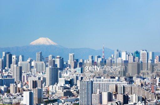 De la ciudad de Tokio, el monte Fuji &