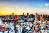 Tokyo Skyline With Tower At Sunset