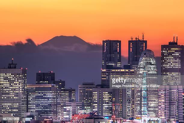Tokyo Skyscrapers With Mt Fuji