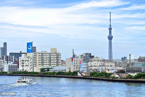 Tokyo Skytree with water bus